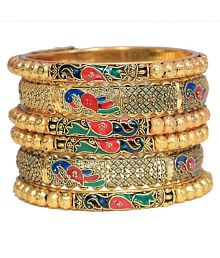 Jewels Galaxy Limited Edition Well Crafted Mayur Inspired Fascinating Broad & Slim Bangle Set For Women/Girls - Set Of 6