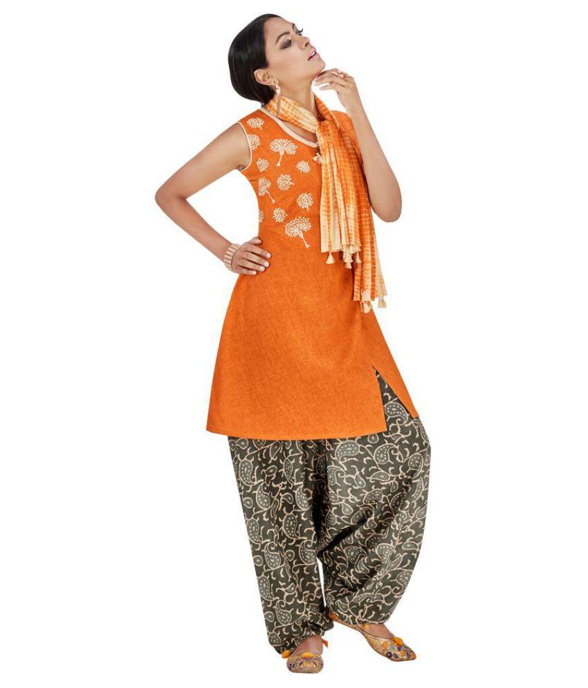Kumaran Silks Orange Cotton Straight Stitched Suit