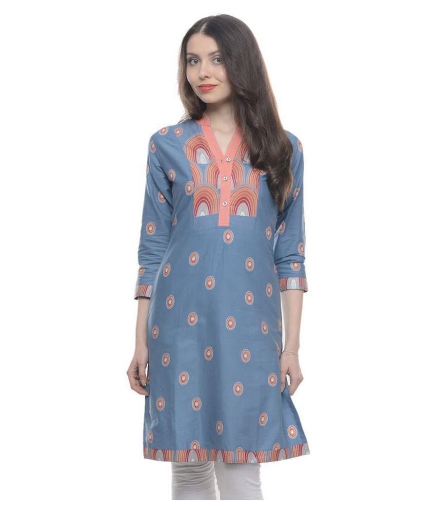 Sinha Creations Blue Cotton Straight Kurti