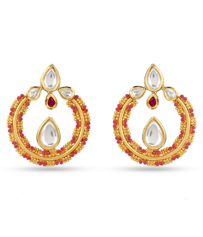 Tistabene Traditional Kundan Meena Fashionable Fancy Party/ Daily Wear Chandbali Earring for Girls And Women (ER-2491)