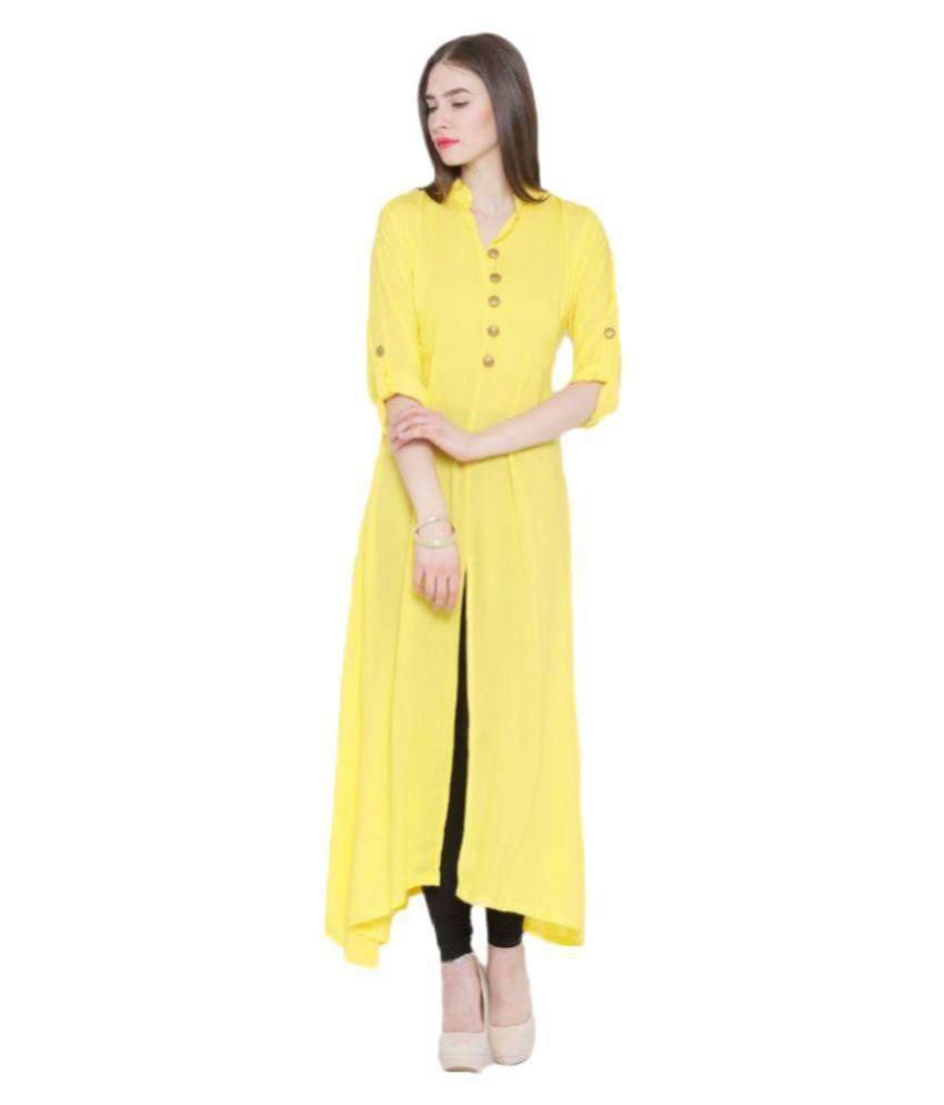 The Bebo Yellow Crepe Front Slit Kurti
