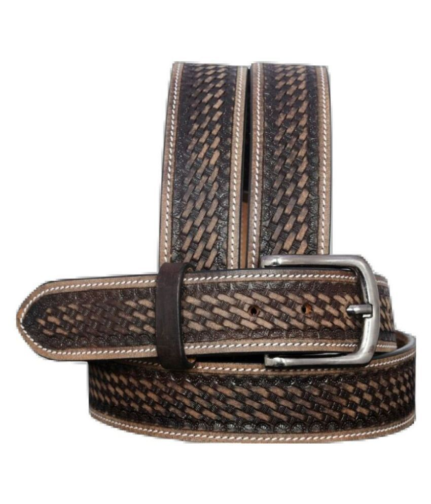 BLUERANGE Brown Leather Casual Belts
