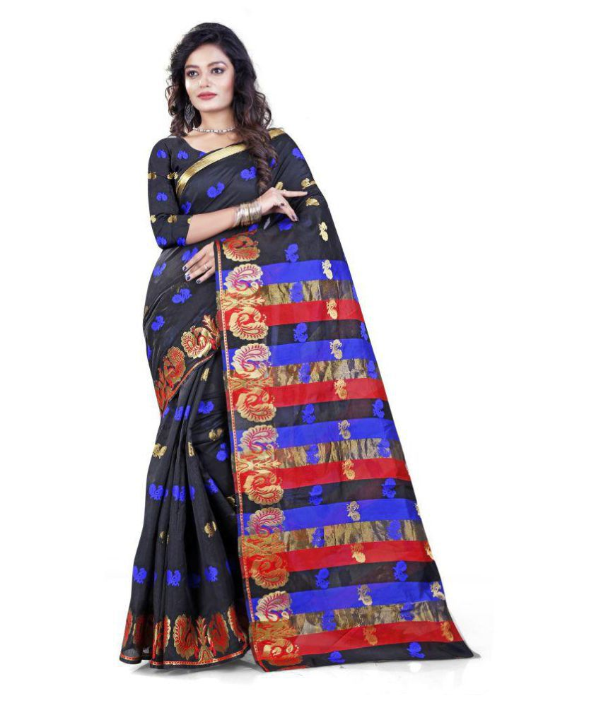 Bollywood Fashion Studio Black Cotton Silk Saree