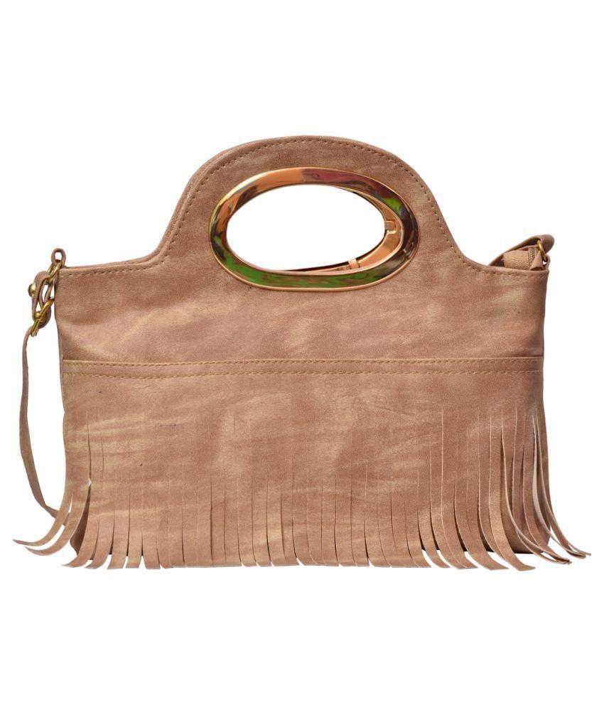 Jayteen Beige P.U. Satchel Bag