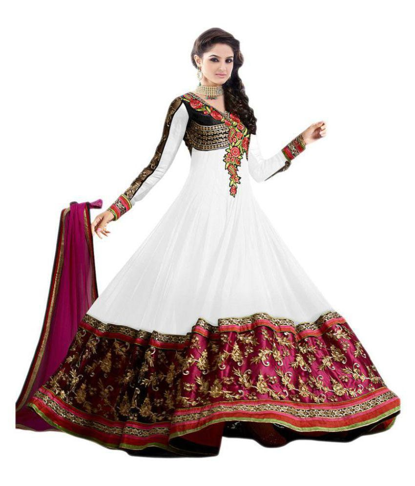 RTHub White and Brown Georgette Anarkali Semi-Stitched Suit