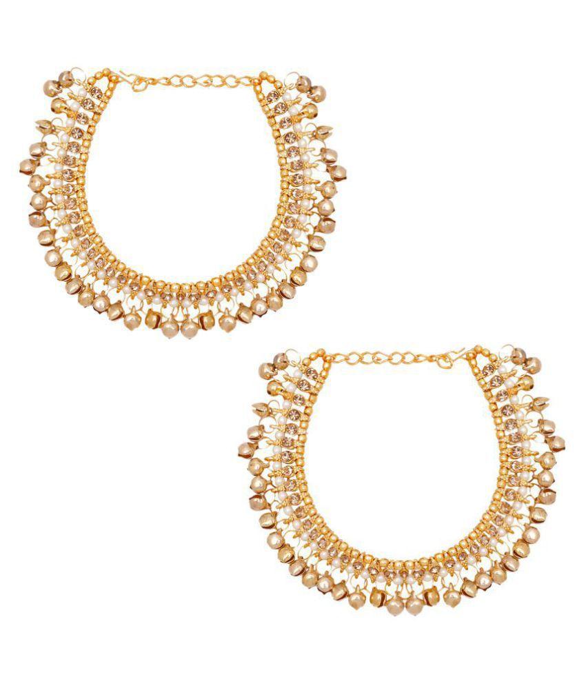 Jewels Gold Alloy Party Wear & Wedding Latest Designer Stylish Anklet Set For Women & Girls (Adjustable)