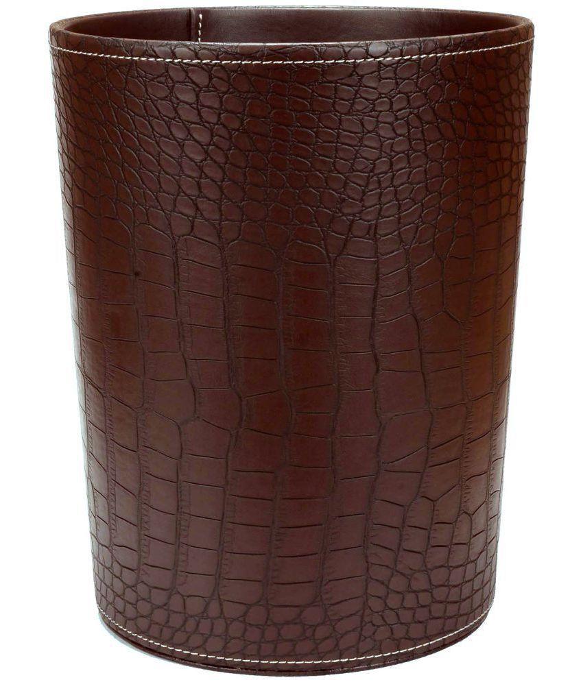 Corporate Collection Woodenleather Waste Basketpaper Basketdustbin