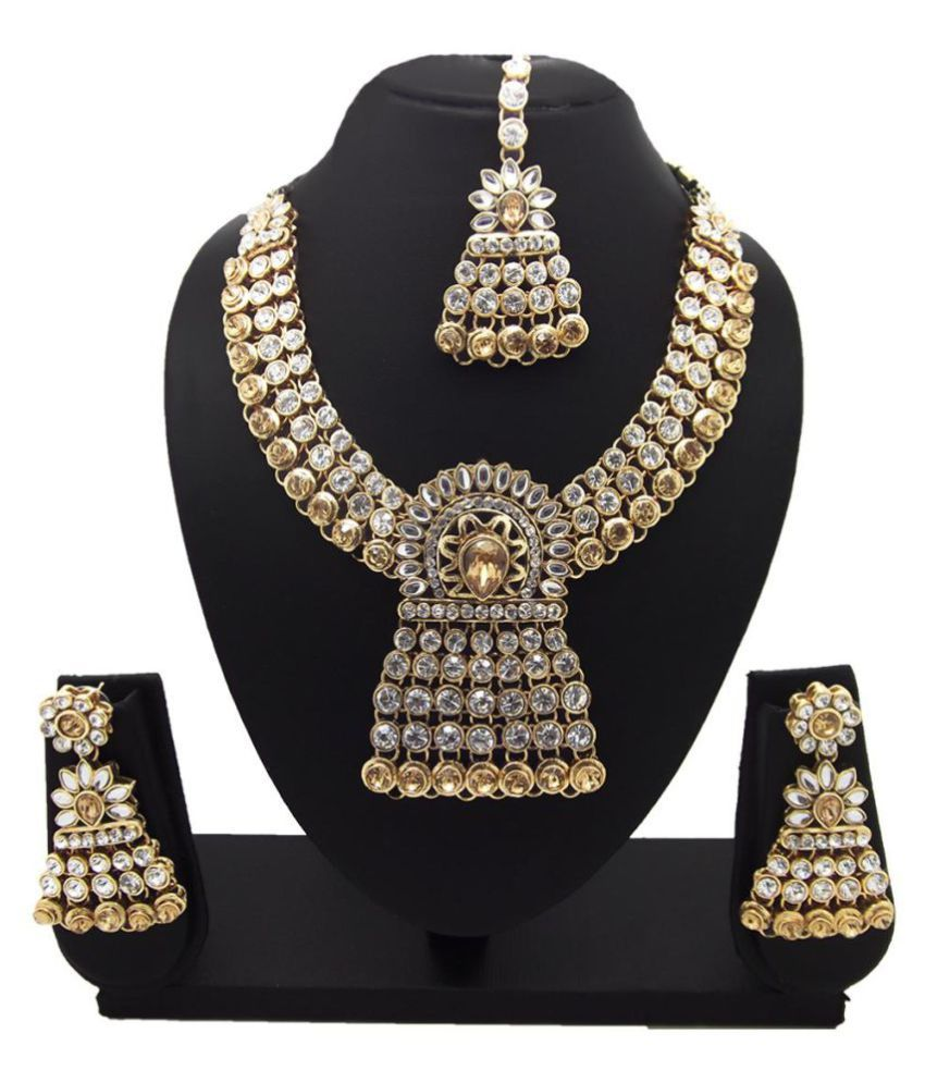 9blings Champagne white Bridal CZ Gold Plated Choker Necklace Set For Women