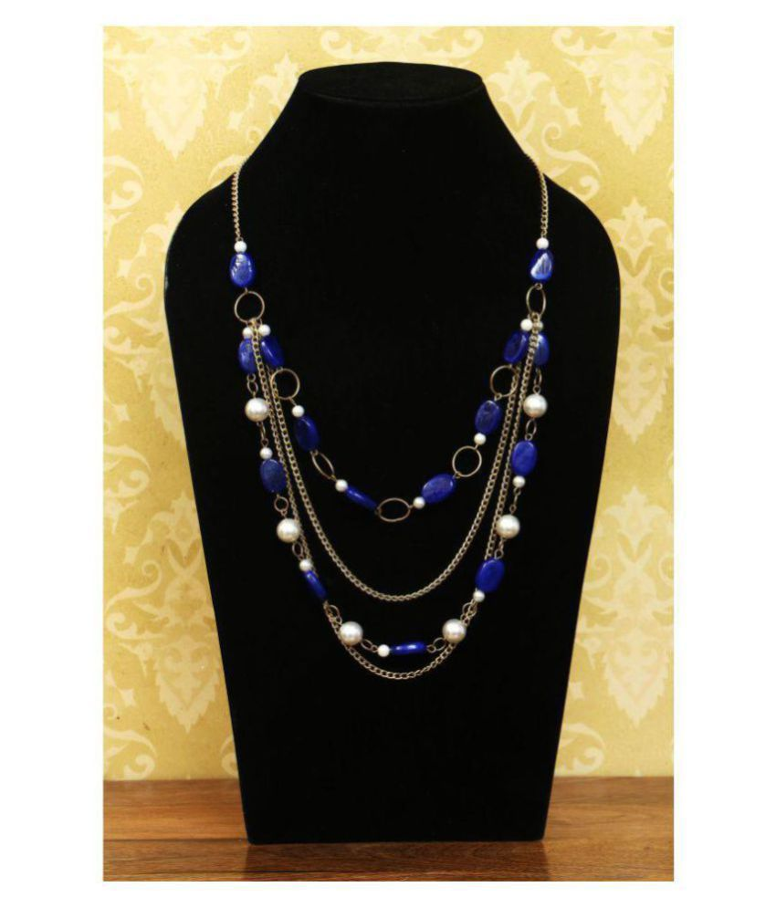 Handmade Metal And Beads Necklace Dazzling Blue And Golden Color