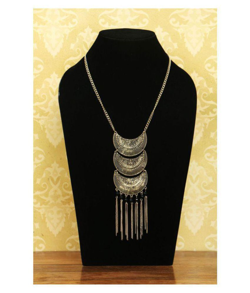 Handmade Metal And Beads Necklace Pale Gold Color