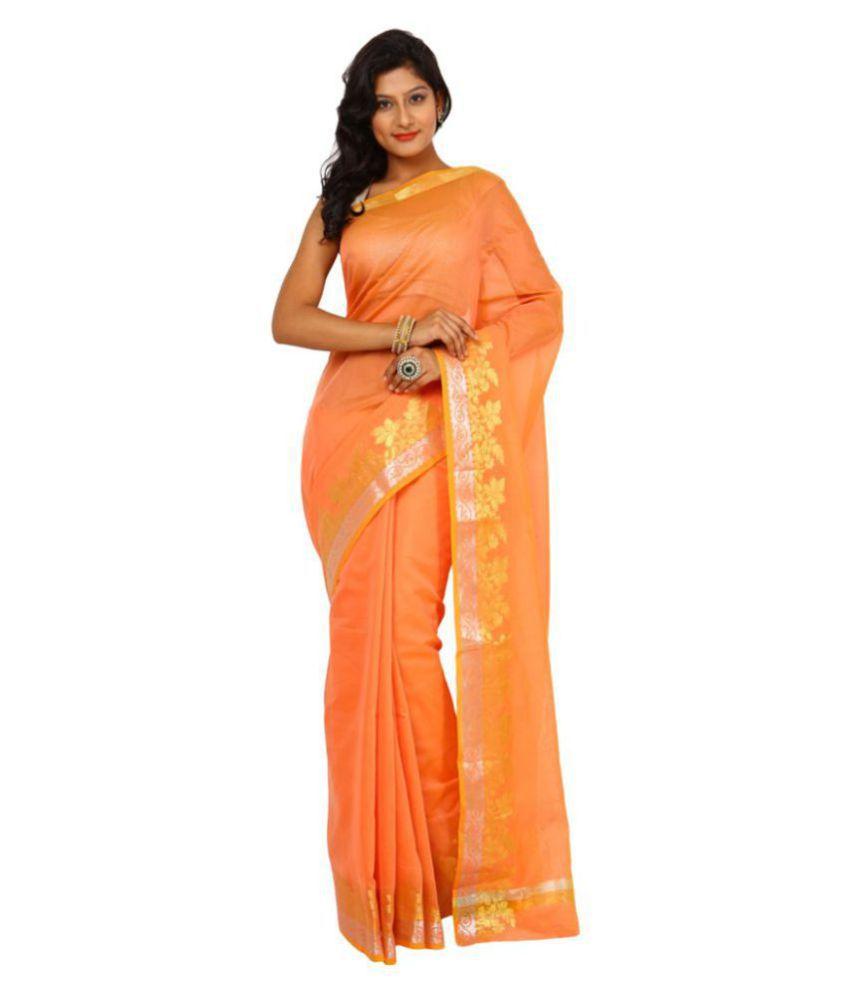 Kataan Bazaar Orange Cotton Silk Saree