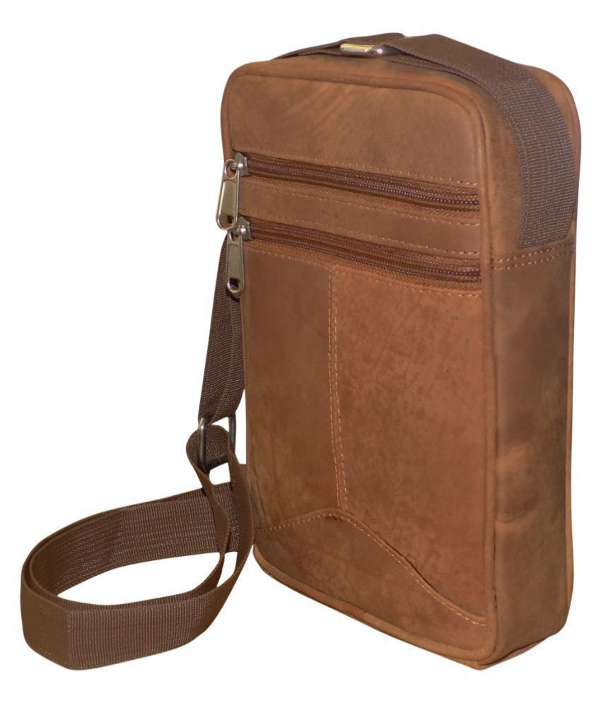 Style 98 Stylish Tan Leather Casual Messenger Bag