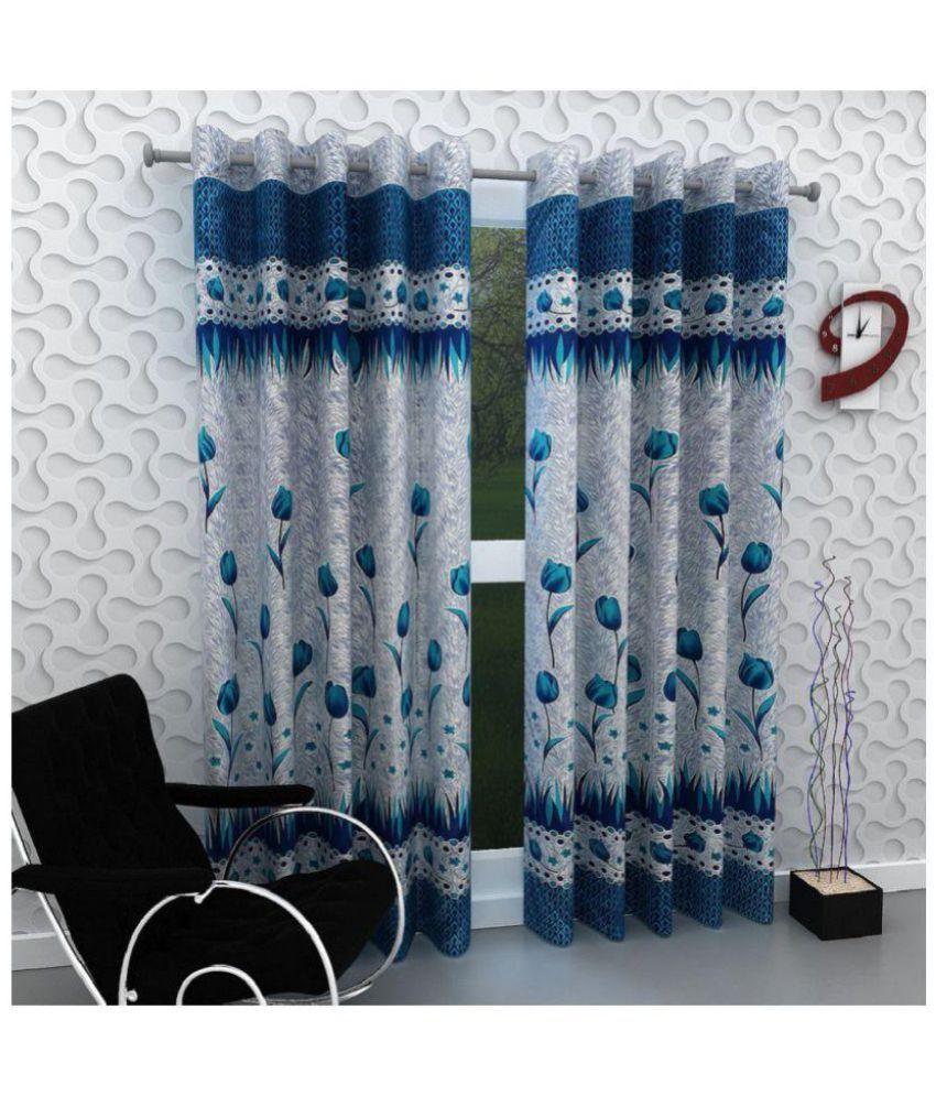 Tanishka Fabs Set of 2 Door Eyelet Curtains Blue