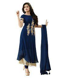 Darshita International Blue Georgette Dress Material