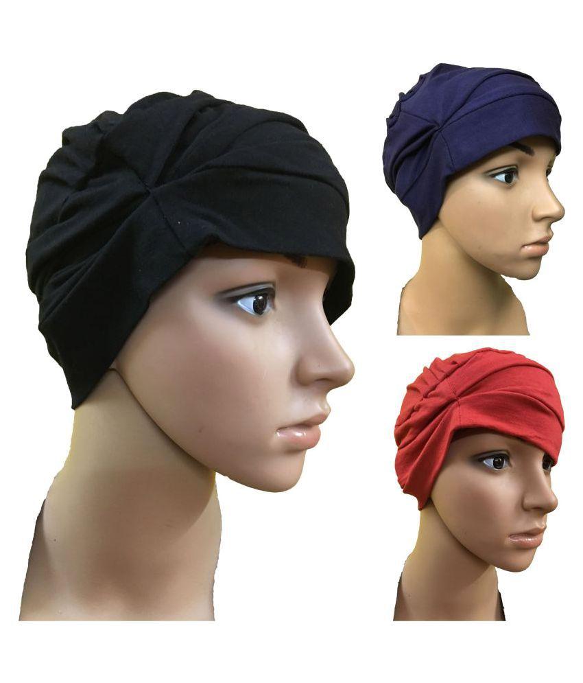 GIRRIJA  BEAUTIFUL FASHIONABLE STYLISH  MULTICOLOR SUMMER COMFORT  3 PIECES COMBO PACK OF WOMEN HEADWEAR/CAPS