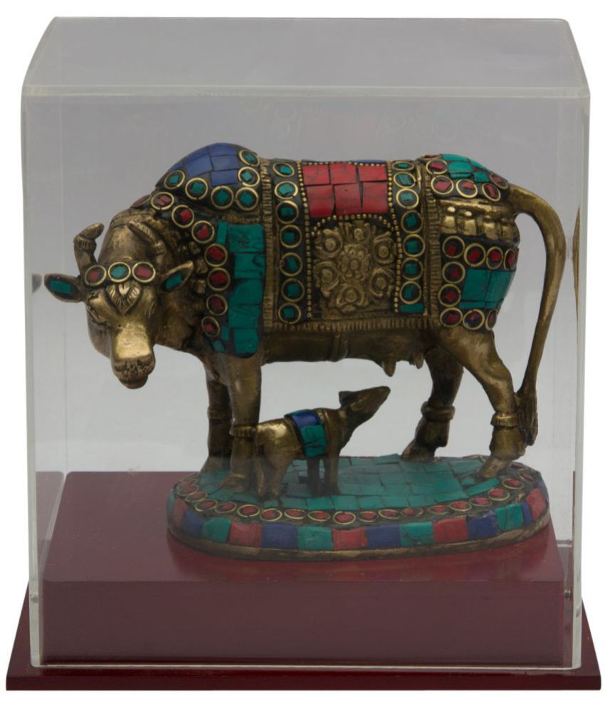 Indian Handicraft Cow and Calf Brass Idol