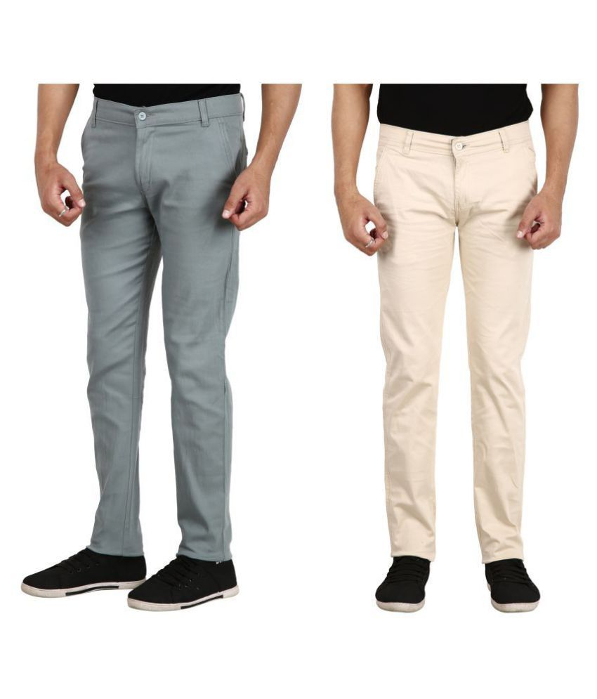 REDMAPLEJEANS Off White Regular -Fit Flat Chinos
