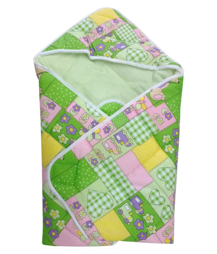 Love Baby Green Cotton Baby Wrap cum blanket ( 70 cm × 70 cm - 1 pcs)