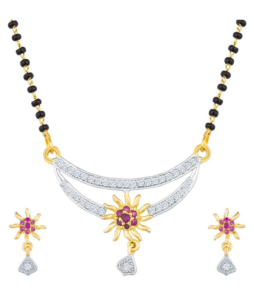 Aadita Tradtional Gold Plated American Diamond Mangalsutra with Chain and Earrings for Women