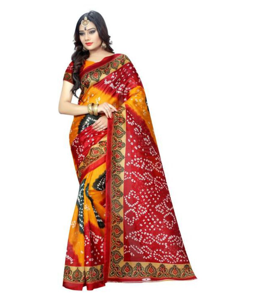 B4U FASHION Multicoloured Bhagalpuri Silk Saree