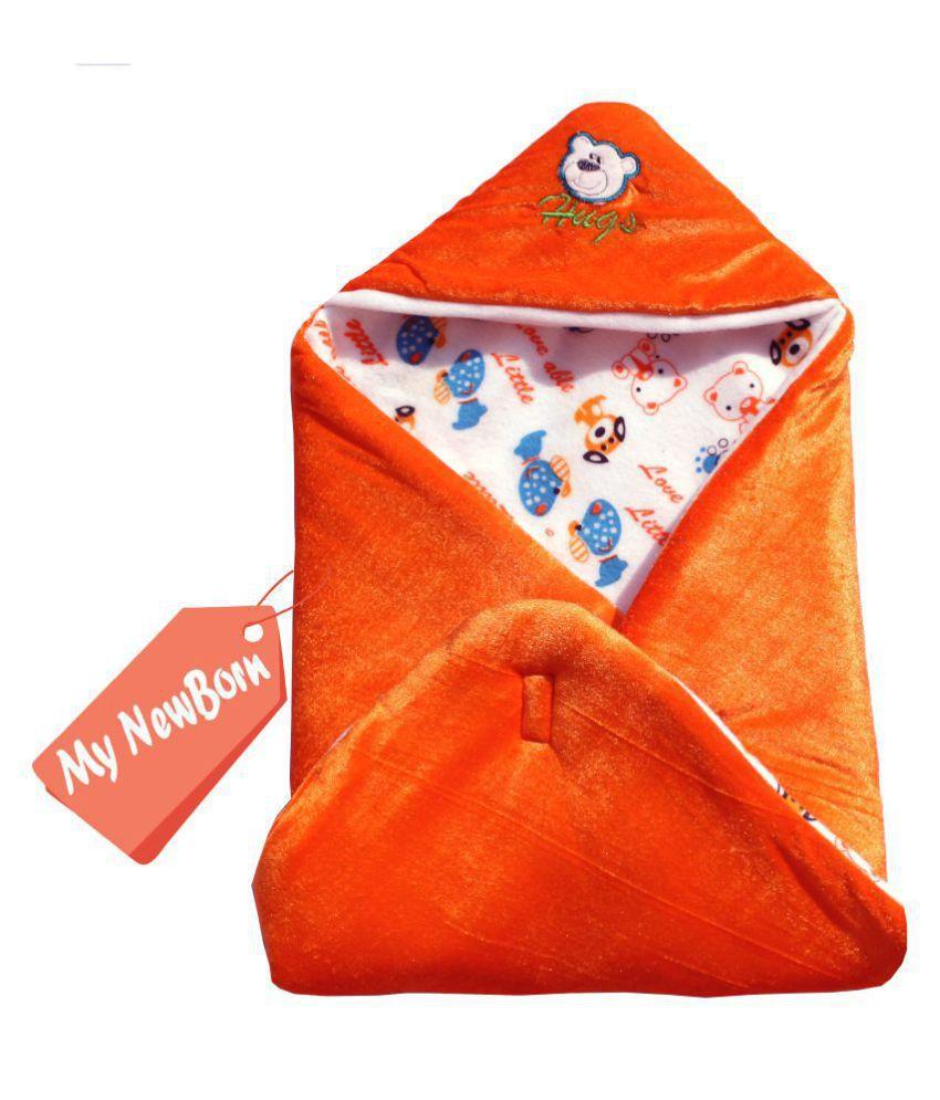 My NewBorn Orange Fleece Baby Wrap cum blanket ( 66 cm × 66 cm - 1 pcs)