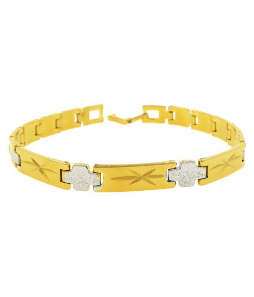 Saizen Interlink Bracelet With Yellow Gold Finish For Men