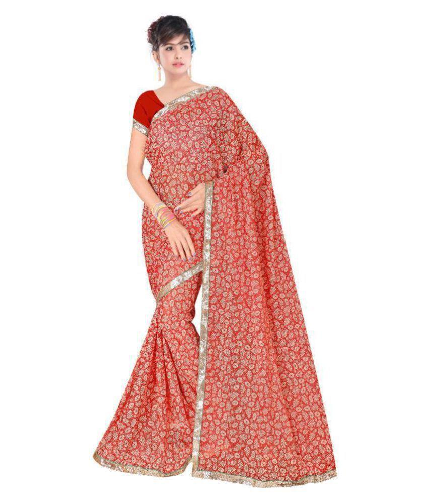 Vardan Fashion Pink and Beige Lycra Saree