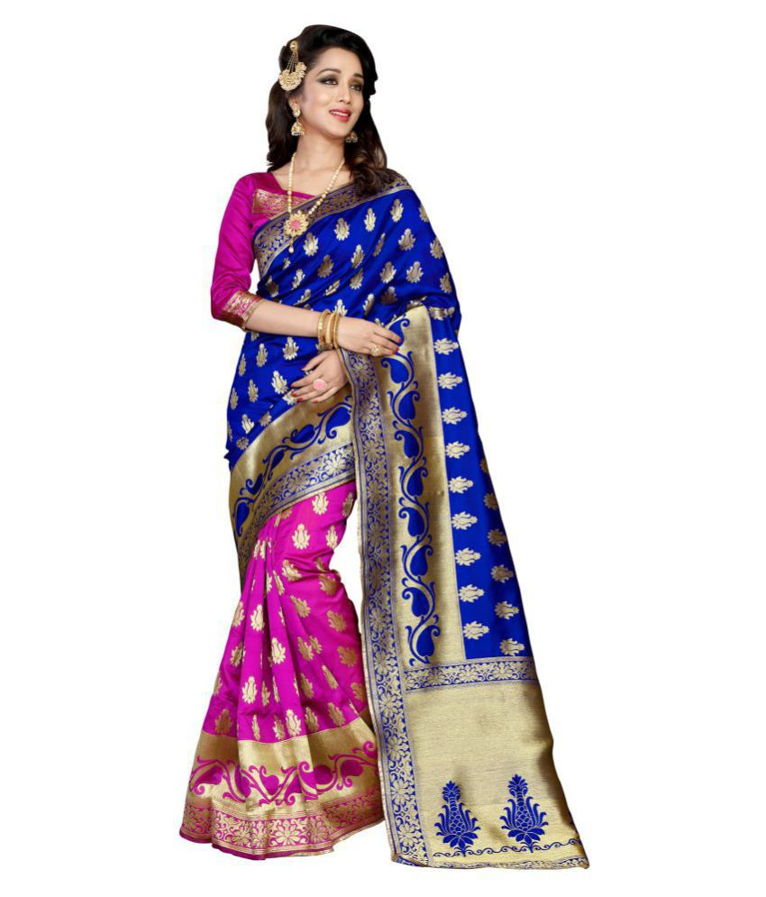 Thankar Blue Banarasi Silk Saree
