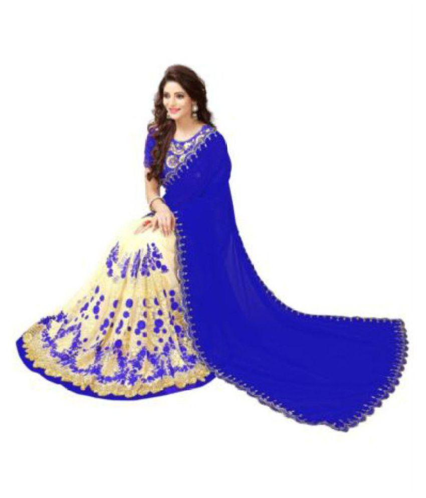 Freental Fashion Blue Georgette Saree