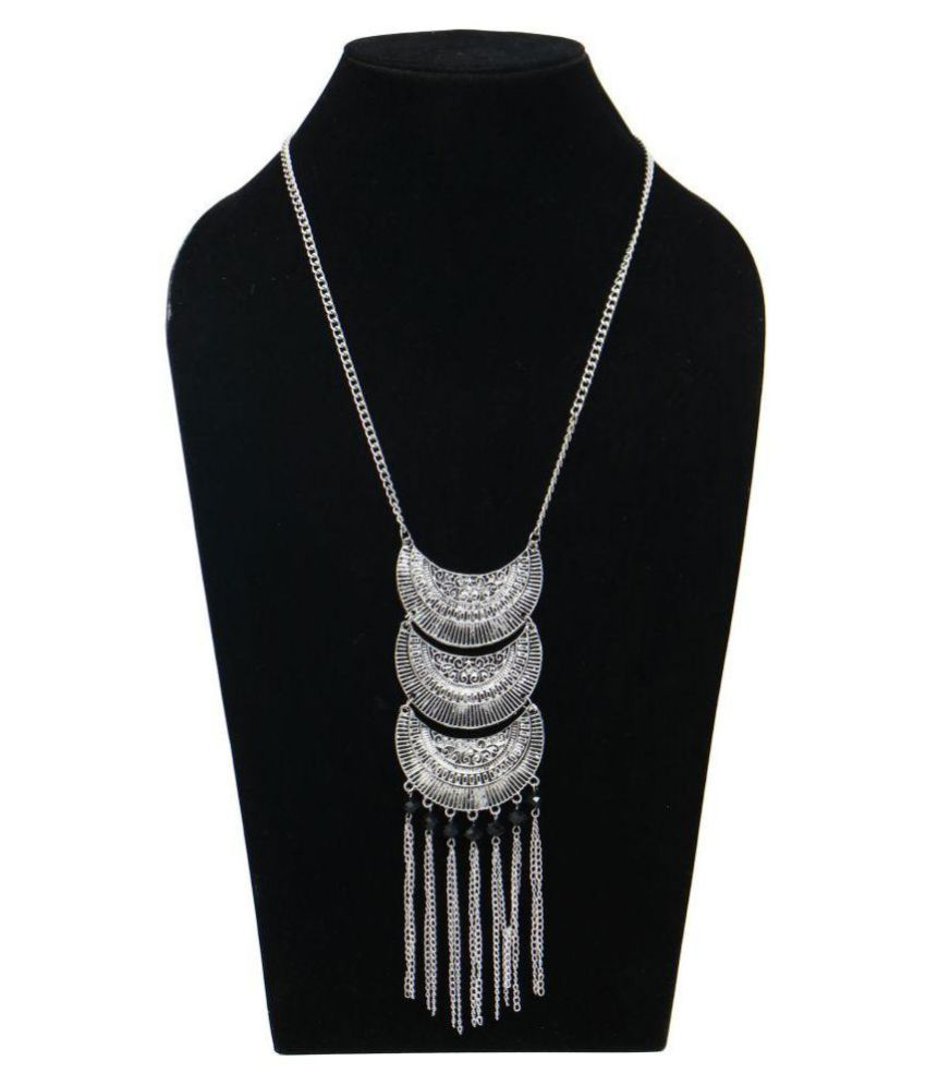 Handmade Metal And Beads Necklace Asphalt Color