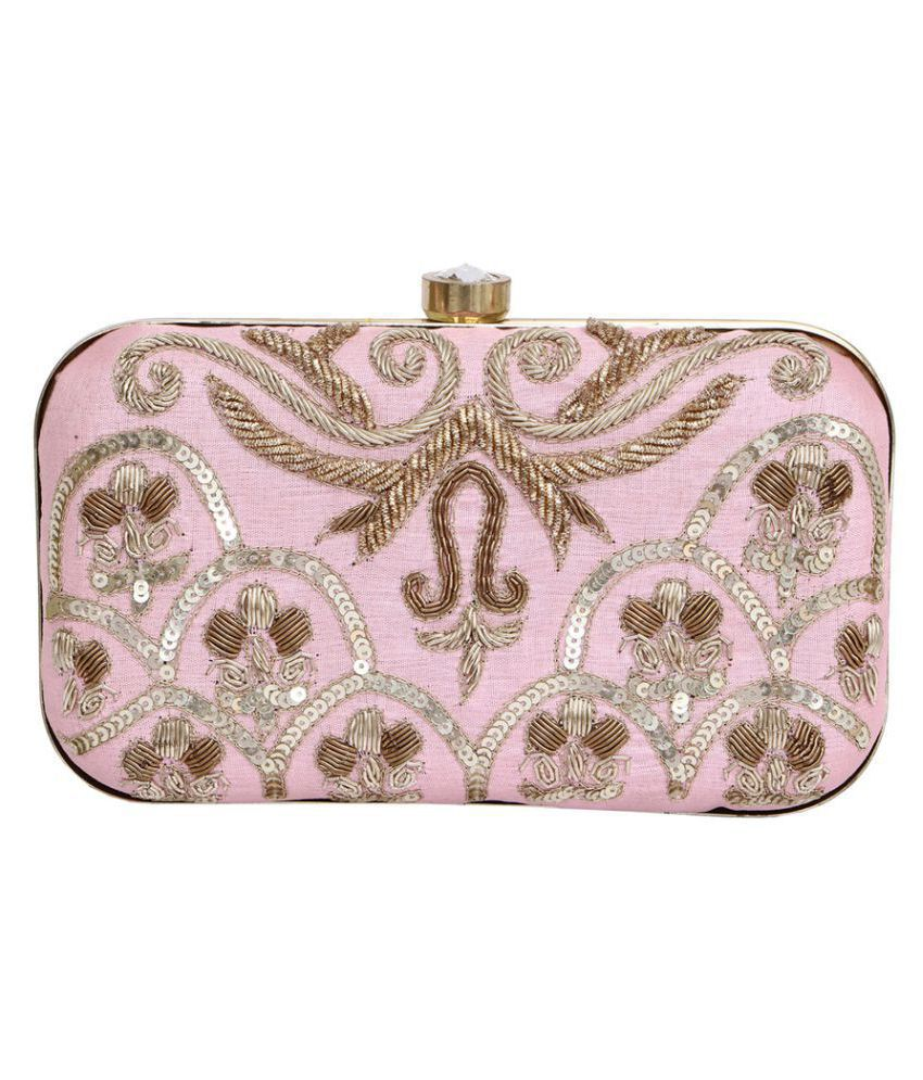 Wow Trendy Pink Fabric Box Clutch