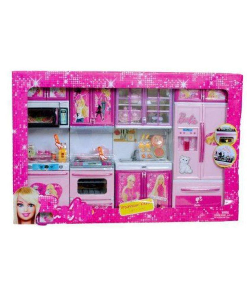 Once More New Barbie 4 Station Kitchen Set Toy For Kids With Light Sound Buy Once More New Barbie 4 Station Kitchen Set Toy For Kids With Light Sound