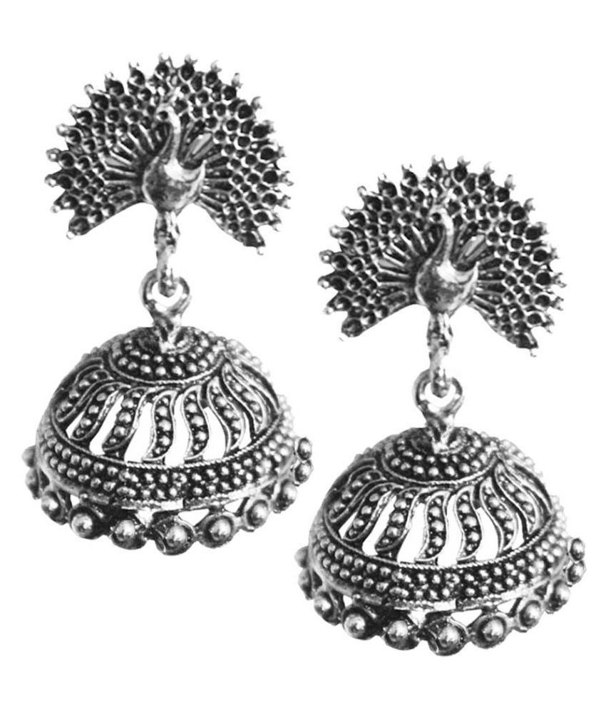 drop silver bhavishya rajasthani metal jhumka dangle earrings product