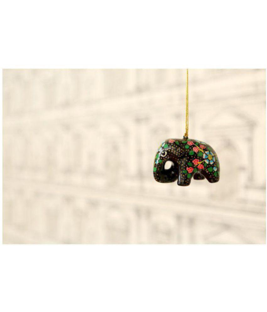 KOLAMBAS Black Paper Mache Decorative Elephant 5   Pack of 1