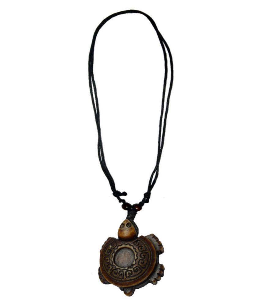 Shiv Jagdamba Carving Happy Wise Sea Turtle Marine Art Brown Resin Pendant For Unisex ( Black adjustable Cord Chain 190mm-740mm)