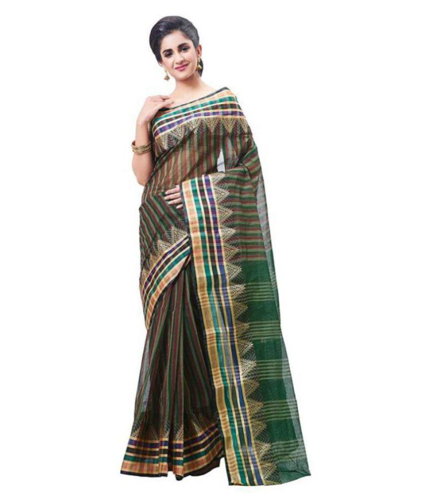 Slice of Bengal Green Cotton Saree