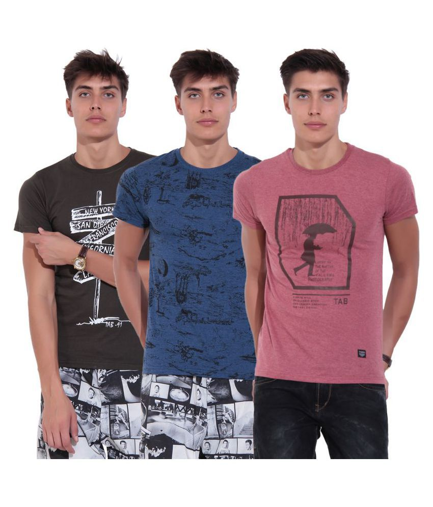 TAB91 Multi Round T-Shirt Pack of 3