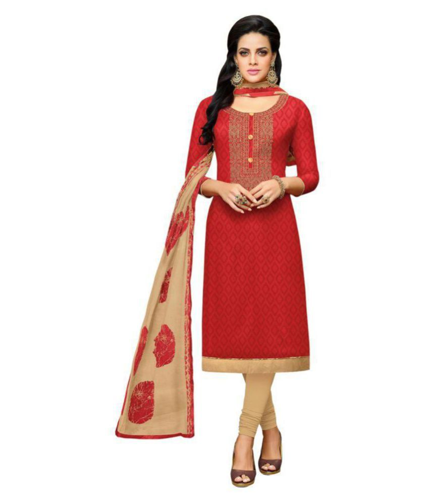 Apple Creation Red Cotton Blend Dress Material