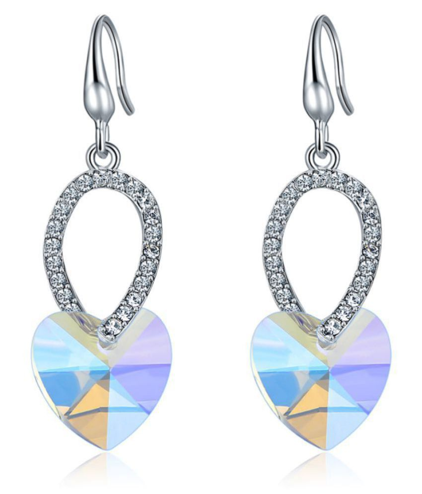 Jewels Galaxy Crystal Elements Limited Love Heart Edition Sparkling Pair Of Platinum Plated Drop Earrings For Women/Girls