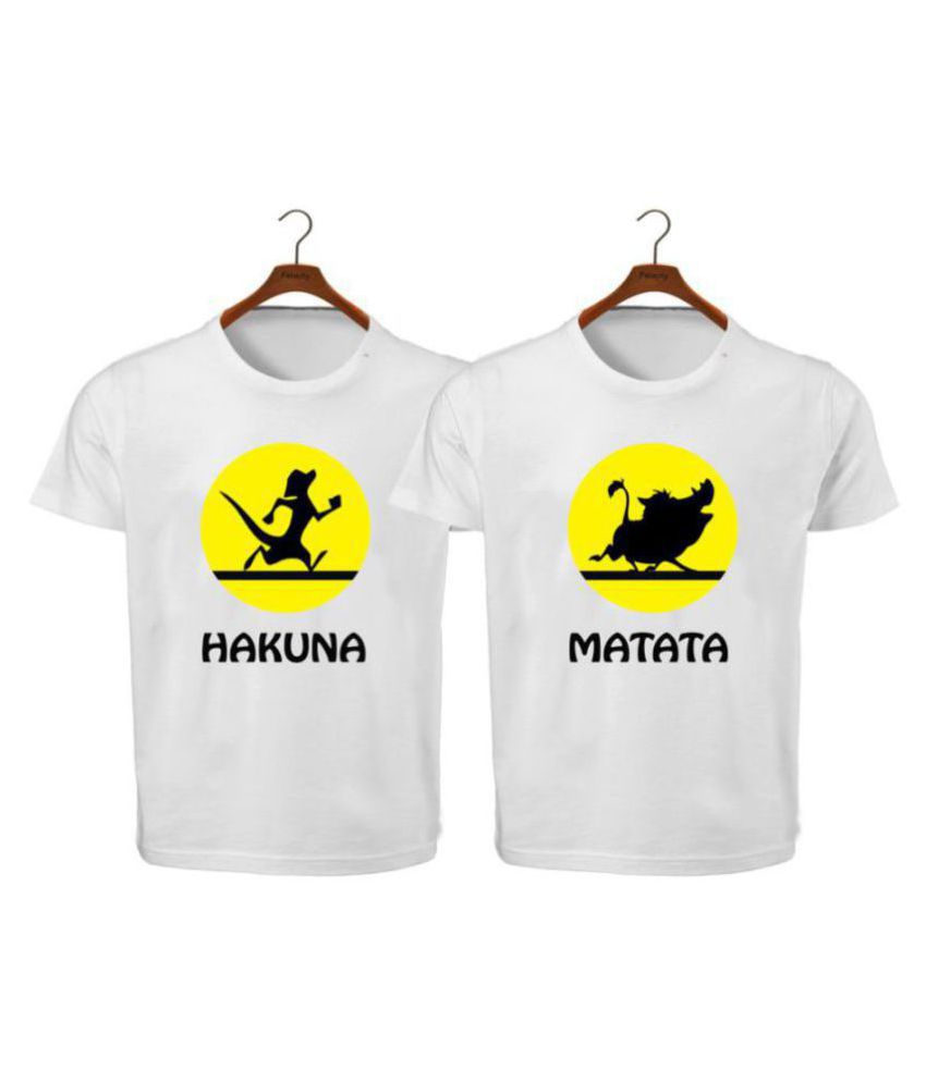 RITZEES White Dry Fit Polyester Combo T-Shirt On Hakuna Matata