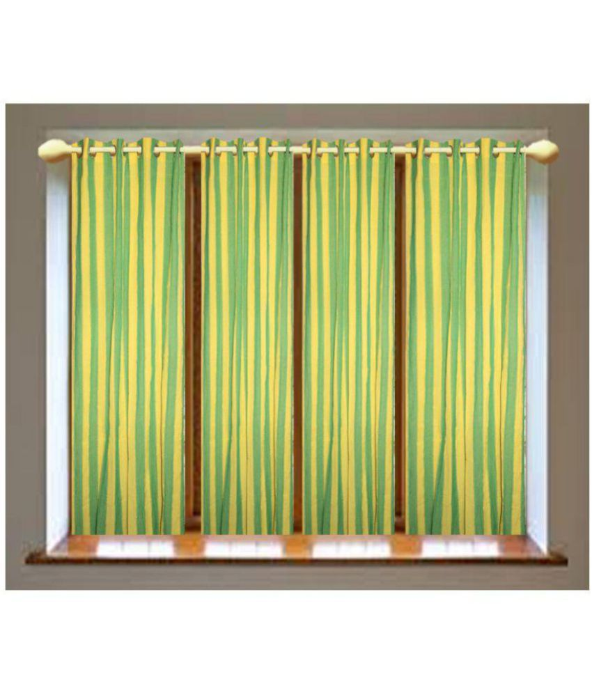 SBN New Life Style Set of 4 Door Eyelet Curtains Stripes Multi Color