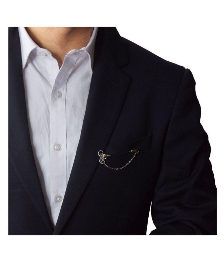 gray faux men p handkerchief suit blazer brooch mens design in