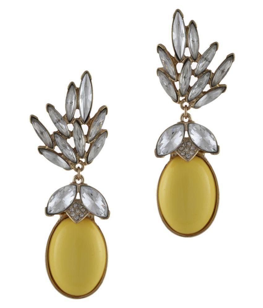 Yellow bead drop crystal earring
