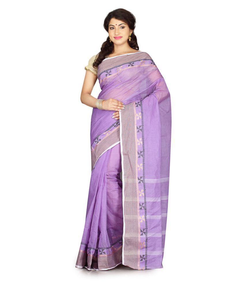 fablum Purple Cotton Saree