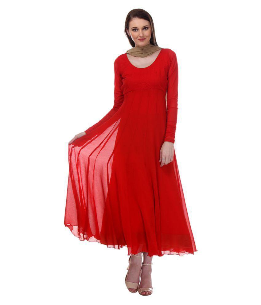 AIDA Red Georgette Anarkali Stitched Suit