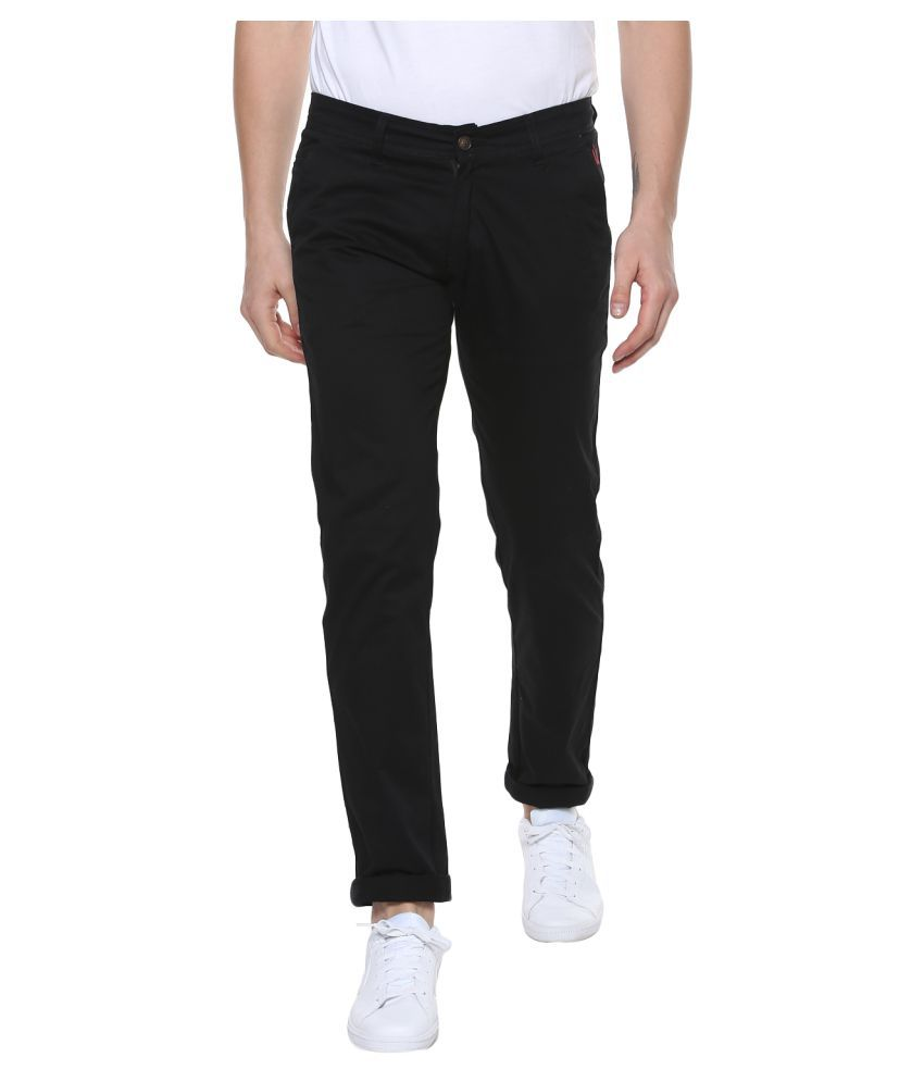 Urbano Fashion Black Slim -Fit Flat Chinos