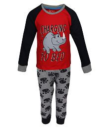 Lazy Shark Boys Cotton Printed Red Nightwear Top & Bottom Set