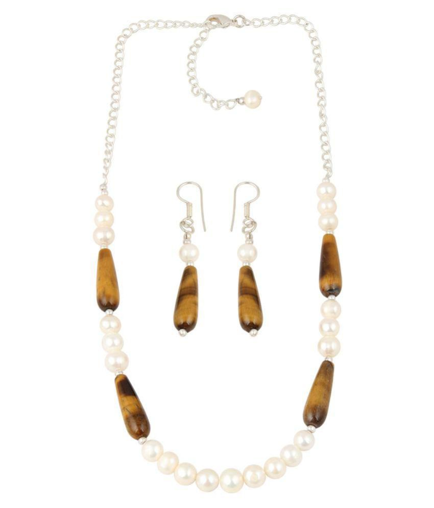 Drop-shaped Yellow Tiger Eye and White Freshwater Pearl Necklace Set by Pearlz Ocean