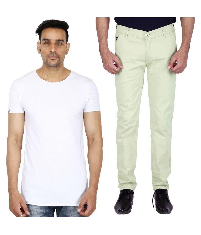 Stallion cotton Clothing Light Green Regular -Fit Flat Chinos