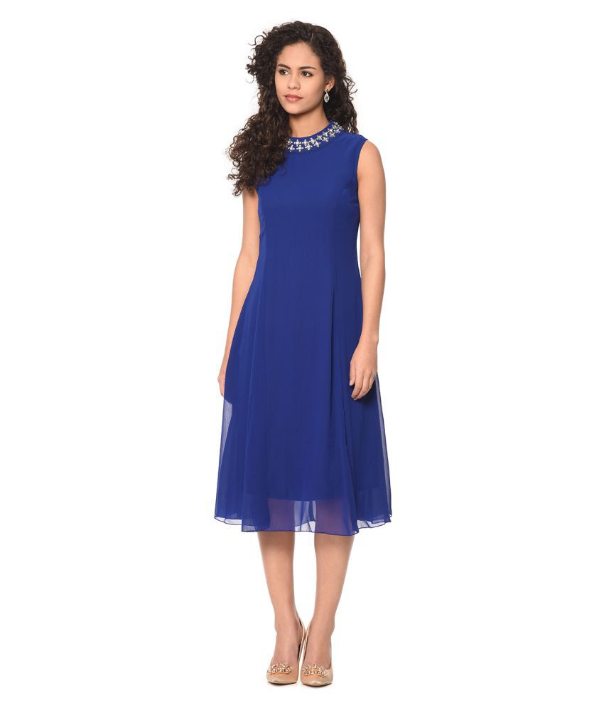 West by East Georgette Dresses